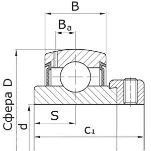 Подшипники шариковые радиальные однорядные с двумя уплотнениями с широким внутренним кольцом со сферической наружной поверхностью наружного кольца с эксцентричным стопорным кольцом