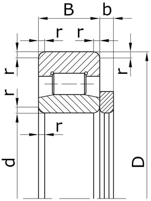 Подшипники роликовые радиальные с короткими цилиндрическими роликами с безбортовым внутренним кольцом и дистанционным кольцом