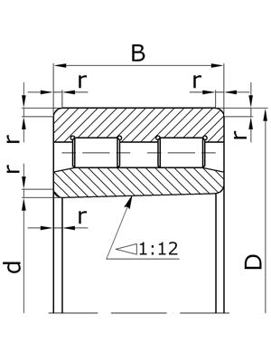 Подшипники роликовые радиальные двухрядные с короткими цилиндрическими роликами с коническим отверстием внутреннего кольца с бортами на наружном кольце