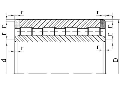 Подшипники роликовые радиальные многорядные с короткими цилиндрическими роликами без бортов на внутреннем кольце с плоскими упорными кольцами на наружном кольце