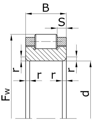Подшипники роликовые радиальные с короткими цилиндрическими роликами без наружного кольца