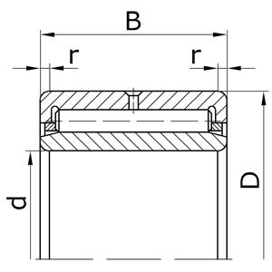 Подшипники роликовые радиальные игольчатые однорядные с наружным и внутренним кольцами с сепаратором