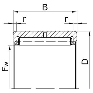 Подшипники роликовые радиальные игольчатые однорядные без внутреннего кольца с сепаратором
