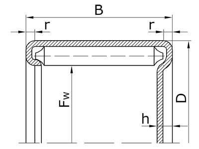 Подшипники роликовые игольчатые с наружным кольцом с профилированным дном без сепаратора