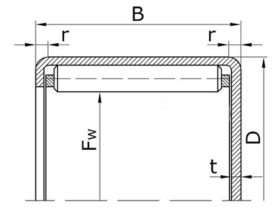 Подшипники роликовые игольчатые с наружным кольцом с плоским дном с сепаратором