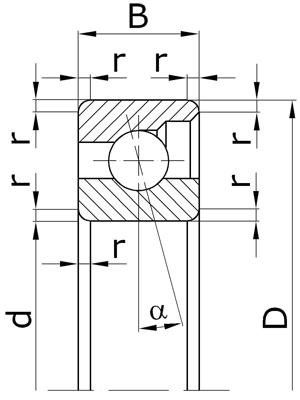 Подшипники шариковые радиально-упорные однорядные разъемные со съемным наружным кольцом с углом контакта α=12º