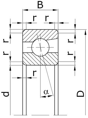 Подшипники шариковые радиально-упорные однорядные неразъемные со скосом на наружном кольце с углом контакта α=12º