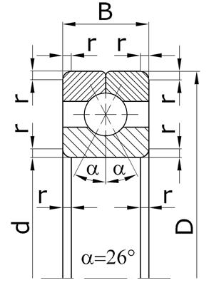 Подшипники шариковые радиально-упорные однорядные с разъемным наружным кольцом с четырехточечным контактом
