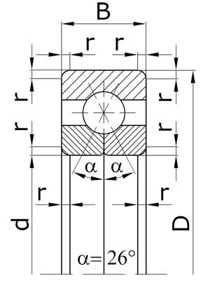Подшипники шариковые радиально-упорные однорядные с разъемным внутренним кольцом с четырехточечным контактом