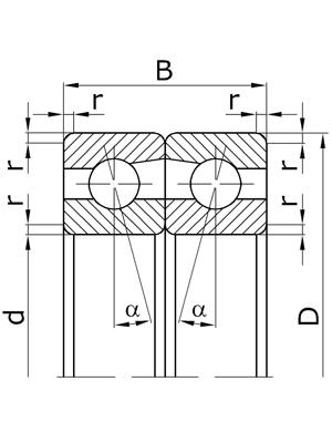 Подшипники шариковые радиально-упорные сдвоенные, наружные кольца обращены друг к другу узкими торцами, угол контакта α=36º